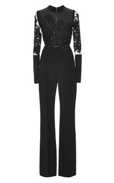 Medium elie saab black crepe cady and embroidery jumpsuit
