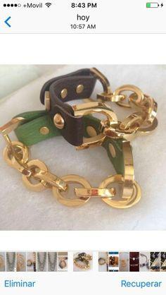 Pulsera de cadena y cuero con broche ajustable para pedidos (507)67910040