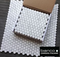"Carrara Bianco 1"" Hexagon Marble Mosaic Tile 