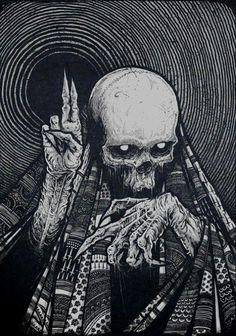 ┼Metal is my life!Page about metal,dark art,horror and other brutal things! Arte Horror, Horror Art, Dark Fantasy Art, Art Épouvante, Art Noir, Satanic Art, Japon Illustration, Skull Illustration, Illustration Artists