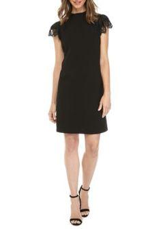 Nanette Nanette Lepore™ Women's Lace Trim High-Neck Dress - Very Black - 12