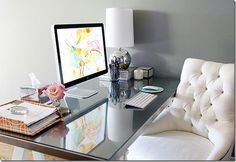 Favorite space. I love this serene and girly office space. PLUS THAT CHAIR