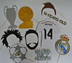 Real Madrid inspirado Photo Booth Props bigote en un palo