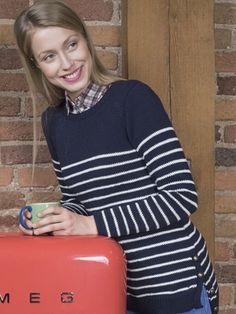 Naisen raidallinen neulepusero Novita Cotton Bamboo   Novita knits