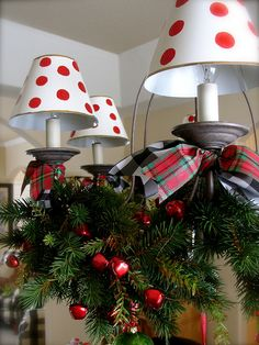 Cute chandy for the holidays!!! Bebe'!!! A fun festive look...love the polka dot lamp shades!!!