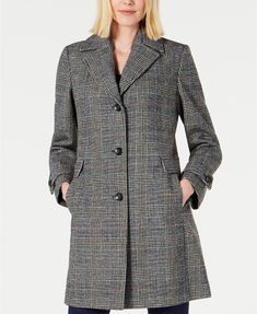 Vince Camuto Petite Single-Breasted Plaid Walker Coat, Created for Macy's - Multi Plaid Plaid Coat, Plus Size Designers, Plus Size Shopping, Trendy Plus Size, Jacket Style, Single Breasted, Vince Camuto, Coats For Women, Work Wear
