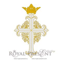 Machine Embroidery Design Cross with crown and ornate boarder