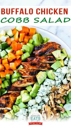 Buffalo Chicken Cobb Salad is a fun twist on the classic Cobb salad. This recipe features buffalo grilled chicken, celery, blue cheese and blue cheese dressing paired with classic ingredients like lettuce, egg, and avocado. The smoky, spicy Buffalo Grilled Chicken paired with the blue cheese, green onion, and celery really gave the salad a classic Buffalo and Blue Cheese Flavor.   @goodlifeeats #easysummersalad #bestcobbsalad #buffalochickenrecipe Buffalo Chicken Recipes, Easy Summer Salads, Macaroni Salad, Healthy Appetizers, Good Healthy Recipes, Original Recipe, Grilled Chicken, Food Photo, Family Meals