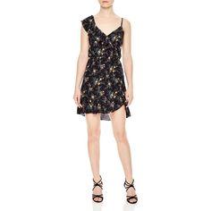 Sandro Petunia Dress (£261) ❤ liked on Polyvore featuring dresses, black, hi low dress, mullet dresses, high low dresses, floral print high low dress and sandro dress