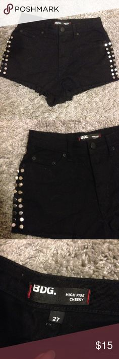 High waisted jeans shorts! Black mini shorts with spikes in both sides! BDG Shorts Jean Shorts