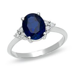it's simple and beautiful! Oval Lab-Created Blue Sapphire Ring with Diamond Accents in 10K White Gold