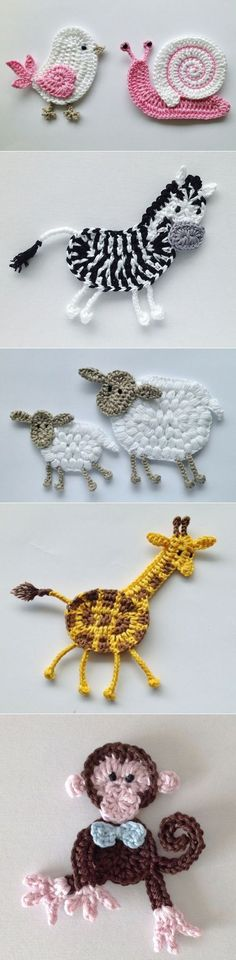 "Diy Crafts - Animais em crochê ""☆ ★ ✭ Aplique de Crochê Bichos - / ☆ ★ ✭ Apply by Crochet Critters -"", ""Wonderful applikashki from les frotte Crochet Diy, Love Crochet, Irish Crochet, Crochet For Kids, Crochet Crafts, Crochet Flowers, Crochet Projects, Crochet Ideas, Diy Projects"
