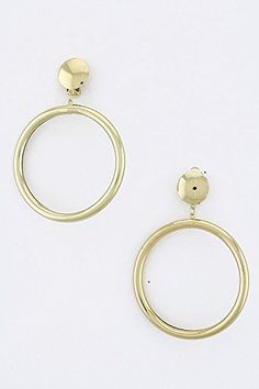 TRENDY FASHION JEWELRY METAL HOOP EARRINGS BY FASHION DESTINATION  Gold -- Click image to review more details. Note:It is Affiliate Link to Amazon.