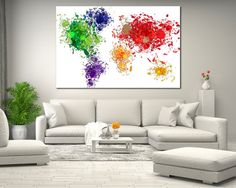 World Map Printable Wall Decor for Home or Office Watercolor
