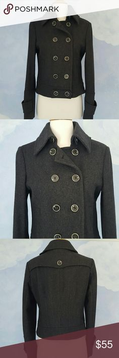 """Express Gray Cropped Peacoat Gorgeous heathered gray peacoat. 2 exterior pockets. Brand new condition. No pills, holes, or tears. 20"""" in length; bust measures 17"""" across; sleeves measure 25"""" Express Jackets & Coats Pea Coats"""