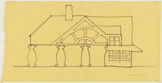 Venturi and Rauch, Robert Venturi, John Rauch, Denise Scott Brown. House, Northern Delaware, Preliminary study of west elevation. 1978. 152. House in New Castle County. Delaware, U.S. Robert Venturi, John Rauch, and Denise Scott Brown (architects). 1978–1983 C.E. Wood frame and stucco.