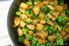 Sesame Chicken with Broccoli - Almond Flour, EVOO, Sesame Oil, Garlic, Soy Sauce, Brown Sugar, White Vinegar, Chicken Broth, Broccoli + Sesame Seeds