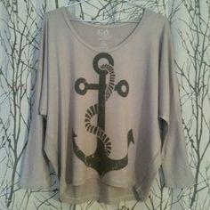 Anchor Shirt Dolman sleeve top with oversized anchor Tops Sweatshirts & Hoodies