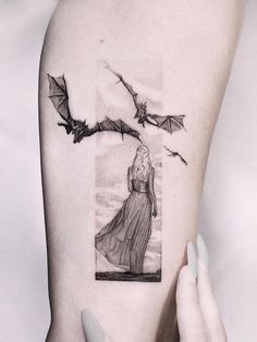 58 Game of Thrones Tattoo Designs You Need To See! - of thrones tattoo - Nerdy Tattoos, Old Tattoos, Pin Up Tattoos, Sleeve Tattoos, Movie Tattoos, Tatoos, Small Dragon Tattoos, Dragon Tattoo Designs, Small Tattoos