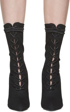 e00a4453fccfb YEEZY - Black Stretch Canvas Lace-Up Boots Yeezy Heels