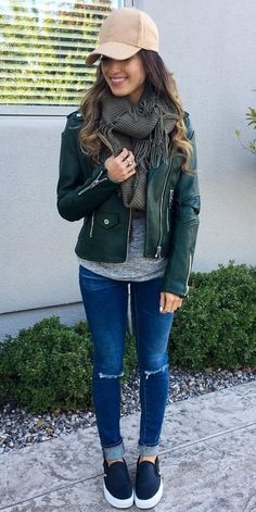 #winter #outfits women's green zip-up jacket. Click To Shop This Look.