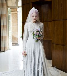 Kate Shillingford wore a gray slashed chiffon wedding dress designed by Gareth Pugh and a veil by Stephen Jones for her marriage to Alex Dromgoole in Photo: Amy Gwatkin, courtesy of the Victoria and Albert Museum Gareth Pugh, White Wedding Dresses, Designer Wedding Dresses, Bridal Gowns, Wedding Gowns, Red Wedding, Victoria Dress, Queen Victoria, Victoria And Albert Museum