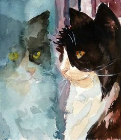 Watercolor Art Print by Maure Bausch by twopoots on Etsy, $12.50 #CatWatercolor