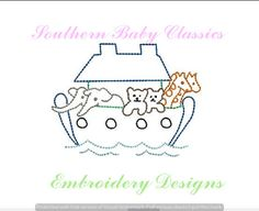Noah's Ark Vintage Quick Stitch Design File for Embroidery Machine Instant Download Cute Baby Girl Boy Hand Stitched Look Heirloom by SouthernBabyClassics on Etsy