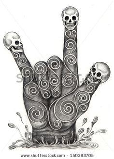 Voodoo Symbol Skull | Art skull hand symbol love. Hand drawing on paper. - stock photo