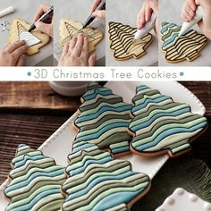 Christmas Tree Cookies: Use FoodWriter Edible Color Markers to trace the tree pattern and lines, and decorate sections using Color Flow Icing. Galletas Cookies, Iced Cookies, Cut Out Cookies, Cute Cookies, Cupcake Cookies, Sugar Cookies, Cupcakes, 3d Christmas Tree, Christmas Tree Cookies