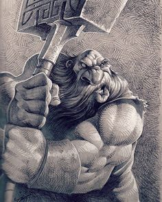 War hammer Dwarf! #kkeeleart #KKeeleSketchbook #dwarf #warhammer #sketchbook #sketch #drawing #draw #ballpointpen #zebraf301 #gellyroll #prismacolormarkers #fantasy #beard #muscles #ink