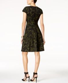 Alfani Petite Printed Fit & Flare Dress, Created for Macy's - Black 10P