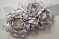 Ready to Ship  Silver Wedding Sash  Bridal by TheVintageCabbgeRose, $35.00