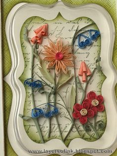 Supplies: Hero Arts stamps: Old Letter Writing S4878, Envelope Pattern S5507; Lake City Craft quilling paper (3 mm); Tim Holtz Sizzix Mini Ornamental and Ornamental die and packaging; Distress Ink Bundled Sage, Peeled Paint; Versafine Olympia Green; wooden frame; acrylic pain