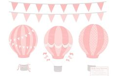 This fun collection of hot air balloons, banners and coordinating patterns is perfect for accenting your creative projects! Kirigami, Hot Air Balloon Clipart, Image Tumblr, Balloon Illustration, Pastel Balloons, Air Ballon, Vintage Boys, Art File, Decoration
