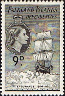Dependencias de las Islas Falkland 1954 Barcos SG G34 Bellas  Scott 1L27 de usados Otros sellos del Pacífico Sur y de la Comunidad Británica AQU