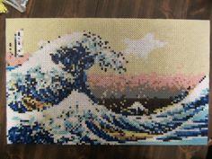 The Great Wave Off Kanagawa Perler Bead Art by DesignsBySarette