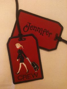 Flight Attendant Bag Tag Personalized. $10.00, via Etsy.