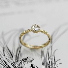 Image of SOLD 18ct Gold 4.5MM ROSE CUT DIAMOND RING {IOW03}