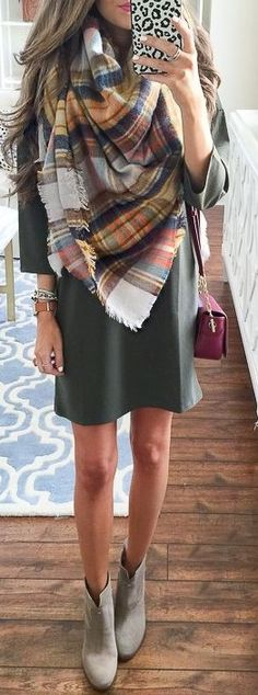 Statement Plaid Scarf + Olive Tee Dress + Booties                                                                             Source