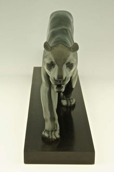 Art Deco Sculpture of Walking Panther by Max Le Verrier   From a unique collection of antique and modern animal sculptures at https://www.1stdibs.com/furniture/more-furniture-collectibles/animal-sculptures/