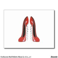 Corkscrew Red Stiletto Shoes Postcard