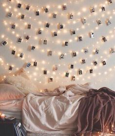 hanging lights and polaroids More
