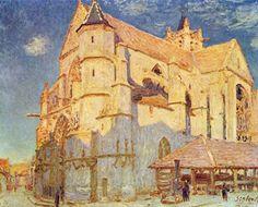 Alfred Sisley.  Kirche von Moret.1893, Öl auf Leinwand, 65 × 81cm.Rouen, Musée des Beaux-Arts.Frankreich.Impressionismus.  KO 00864