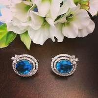 These lovely oval-shaped center aqua blue zircon earrings are set into a bed of double ringed clear zircon, unified by a delicate zircon flower accent at the bottom creates a rich ensemble in these must-have, classic french clip earrings. Clip On Earrings, Women's Earrings, French Clip, Blue Zircon, Premium Wordpress Themes, Aqua Blue, Sterling Silver Earrings, Gemstone Rings, Delicate