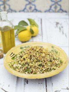 Summer four-grain salad with garlic, lemon and herbs