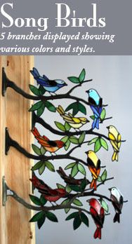 Stained Glass Birds by Chippaway Art Glass  also diy kits of the branch and bird for under $30.