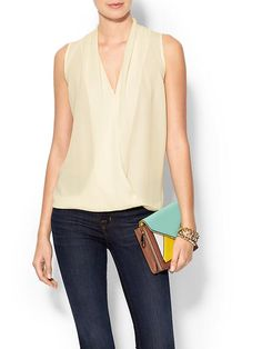 Sleeveless Scarf Front Top Product Image