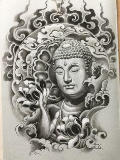 49 Trendy Tattoo Back Art Colour Buddha Tattoo Design, Shiva Tattoo Design, Buddha Painting, Buddha Art, Arte Ganesha, Buda Tattoo, Buddha Flower, Yogi Tattoo, Japanese Dragon Tattoos