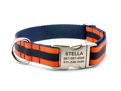New to Bark Label #Itsadogthing http://www.barklabel.com/products/layered-stripe-dog-collar-with-personalized-buckle-orange-navy?utm_campaign=social_autopilot&utm_source=pin&utm_medium=pin www.barklabel.com